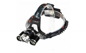 Lanterna frontala cu 3 leduri si 2 acumulatori, Led si zoom Cree 5W