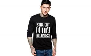 Bluza barbati neagra - Straight Outta Bucuresti