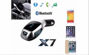 Car Kit Bluetooth X7 - Modulator FM cu telecomanda, slot card si USB