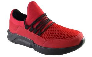 Pantofi Casual Barbati, Rosii din Panza, Talpa Neagra Usoara din Spuma