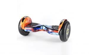 Scooter electric 10 inch, boxe, bluetooth, lumini pe aripi si roti, culoare portocaliu-albastru