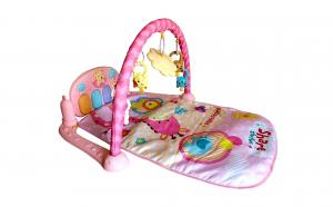 Salteluta interactiva pentru bebelusi, muzicala, cu pian, proiector si arcada cu jucarii detasabile, roz