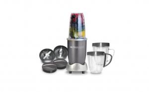 Blender Tip Nutribullet, 600 W, 1 Treapta de Viteza, 0.7l, Bol Plastic, Gri Inchis, Lama Dubla de Extragere