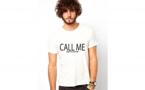 Tricou barbati alb - CALL ME when you leave him