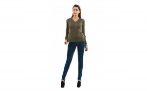 Pulover Basic V-neck kaki la doar 83.3 RON