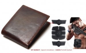 Aparat pentru remodelare abdomen SixPack Gym - picioare si/sau brate, cu electrostimulare, 3 dispozitive si 3 pad-uri + Cadou: portofel barbati