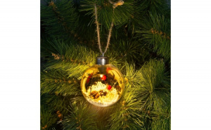 Ornament de pom de Craciun cu LED - alb