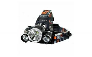 Lanterna de cap 3 x LED Cree XML, T6, frontala, cu lupa + 2 x acumulatori