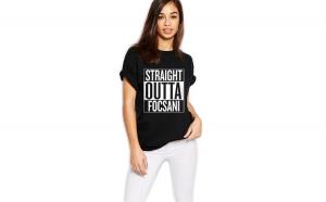 Tricou dama negru - Straight Outta Focsani