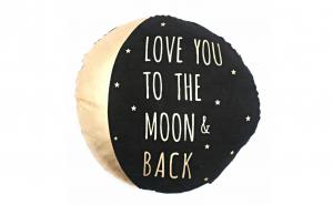 "Perna decorativa rotunda ""Love you to the moon & back"", 40 cm, negru/auriu"