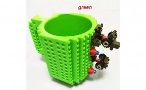 Cana customizabila cu piese Lego, Verde, 350 ml