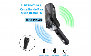 V9 - Casca Telefon Mobil cu Bluetooth 4.2 Hands-Free, Modulator FM, USB Mp3 Player iMango, 2 Porturi Incarcare Rapida, Afisaj Digital