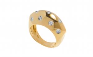 Inel din aur galben 18K cu diamante naturale, circumferinta - 53 mm, IAU247