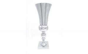 Vaza cu decor elegant, simpla, argintie, 52 cm, OEM
