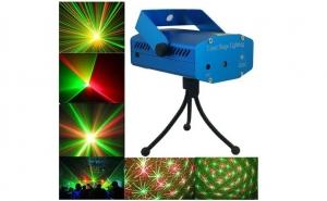Mini Proiector cu efect de artificii si stelute,Senzor de Sunet Laser Stage, strobo, roşu şi verde, trepied, ventilator