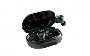 Casti Bluetooth Wireless Stereo Headset Touch Control Earbuds Handsfree cu Cutie de Incarcare Carcasa Power Bank 3500mAh, Model 2019 C5, Negru