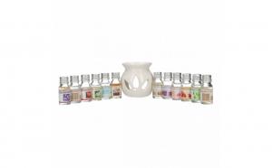 Difuzor aromaterapie, cu 12 sticlute ulei parfumat, 10ml