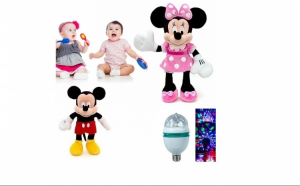 Pachet Mickey/Minnie Mouse + Bec disco multicolor
