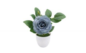 Flori artificiale decorative in ghiveci, bleu, Trandafiri, 24 cm
