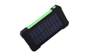 Set 2 produse - Acumulator Extern 10000 mAh, cu Incarcare Solara, 2 USB, Lanterna LED cu Mod SOS, Negru-Verde + Suport Universal de Birou Pentru Tablete sau Telefoane