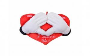 """Perna rosie - inima cu maini, mesajul """"I Love You"""", dimensiunea de 50 cm"""
