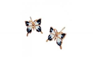 Cercei Butterfly Alb-negru, placati cu