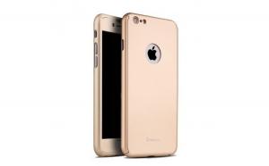 Husa Apple iPhone 6/6S IPAKY Full Cover 360 Auriu + Folie Cadou