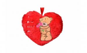 Perna rosie in forma de inima, cu mesaj si ursulet, 20 cm