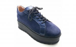Pantofi dama cu siret VDM052 din piele naturala intoarsa albastra