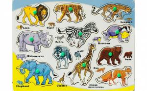 Puzzle din lemn cu animale, limba englez