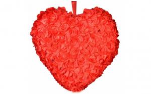 Perna decorativa in forma de inima rosie, dimensiunea 40 cm