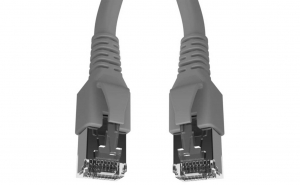 Cablu patchcord Cat.6A 10G S/FTP dublu ecranat Schrack RJ45 LSOH 500MHz gri 1 m