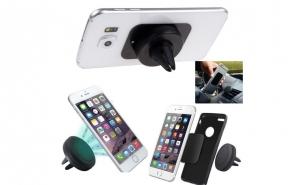 Suport auto magnetic pentru telefon cu paduri adezive incluse, acum la pretul de 39 RON in loc de 89 RON.