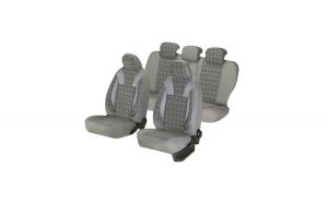Huse scaune auto SKODA FABIA  1999-2010  dAL Luxury Gri,Piele ecologica + Textil