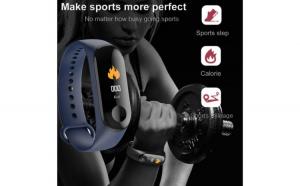 Bratara Fitness M4 Plus Color Reflection Vision®, Model 2020 Ritm Cardiac, Tensiunea arteriala,calorii,monitorizare somn, rezistent apa ,Arata Vremea/Negru