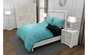 Lenjerie de pat pentru o persoana cu husa elastic pat si 2 fete perna dreptunghiulara, Duo Turquoise, bumbac satinat, gramaj tesatura 120 g mp, Turcoaz Negru, 4 piese