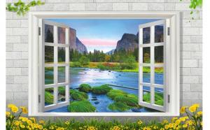 Sticker decorativ, fereastra deschisa spre padure  110 cm, 113STK