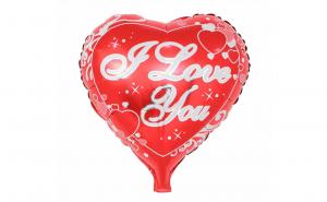 "Balon in forma de inima, rosu metalic, 50 x 46 cm, mesaj ""I love you"""