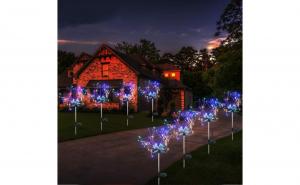 Set 2 X Lampa solara artificii cu suport metalic, 100 LED, multicolor