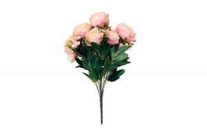 Buchet flori artificiale, roz pal, Trandafiri, 50 cm