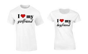 Set de tricouri pentru cuplu I love Girlfriend/Boyfriend COD P035
