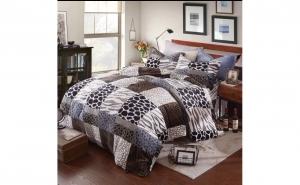 Lenjerie de pat cocolino pentru 2 persoane, cu 4 piese din material pufos