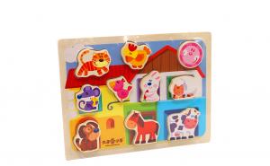 Puzzle 3D din lemn Casuta cu animale