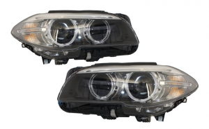 Set 2 faruri Full LED Bi-Xenon Angel Eyes compatibil cu BMW 5 Series F10/F11 (2011-2013) LCI Facelift Look