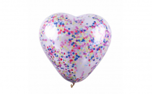 Balon in forma de inima cu confetti transparent - 85 cm