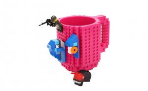Cana customizabila cu piese Lego, Rosu Roz - Rose Red, 350 ml