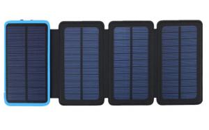 Acumulator Extern 10000 mAh, cu Incarcare Solara cu 4 Panouri, 2 USB, Lanterna LED cu Mod SOS