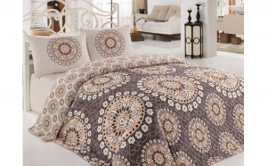 Set cuvertura matlasata Eponj Home Libra, 200x220 cm si 2 fete perna 50x70 cm, Maro