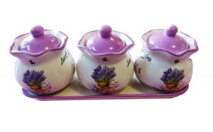 Set din ceramica format din trei recipiente , mov, 701D