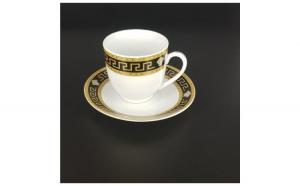 Set 6 cesti cafea + 6 farfurioare, Malooki, imprimeu geometric